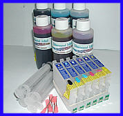 Epson Stylus Photo R200, R220, R300, R300M, R320, R340, RX500, RX600, RX620. Refillable Cartridge with Auto Reset Chips, Light Fast Dye Ink